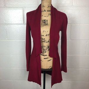 WHBM open front long cardigan long sleeve red XS